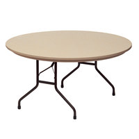Correll RX60R 60 inch Round Brown Plastic Tamper-Resistant Folding Table