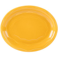 Syracuse China 903033008 Cantina 11 5/8 inch x 9 1/4 inch Saffron Carved Oval Porcelain Platter   - 12/Case