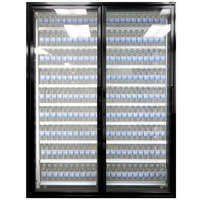 Styleline ML3079-LT MOD//Line 30 inch x 79 inch Modular Walk-In Freezer Merchandiser Doors with Shelving - Satin Black Smooth, Left Hinge - 2/Set