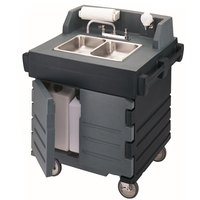 Cambro KSC402426 Black Base with Granite Gray Door CamKiosk Portable Self-Contained Hand Sink Cart - 110V