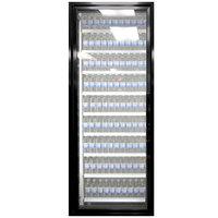 Styleline ML3079-LT MOD//Line 30 inch x 79 inch Modular Walk-In Freezer Merchandiser Door with Shelving - Satin Black Smooth, Left Hinge