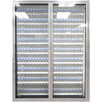 Styleline ML3075-LT MOD//Line 30 inch x 75 inch Modular Walk-In Freezer Merchandiser Doors with Shelving - Bright Silver Smooth, Right Hinge - 2/Set