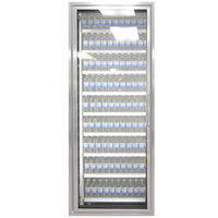 Styleline ML3079-LT MOD//Line 30 inch x 79 inch Modular Walk-In Freezer Merchandiser Door with Shelving - Bright Silver Smooth, Left Hinge