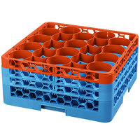 Carlisle RW20-2C412 OptiClean NeWave 20 Compartment Orange Color-Coded Glass Rack with 3 Extenders