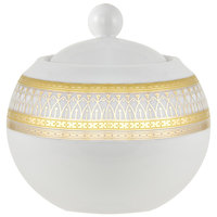 10 Strawberry Street IRIANA-18GLD Iriana 11 oz. Gold Porcelain Sugar Bowl with Lid - 6/Case