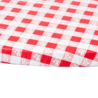 Creative Converting 37288 Stay Put 60 inch Round Red Gingham Plastic Table Cover - 12/Case