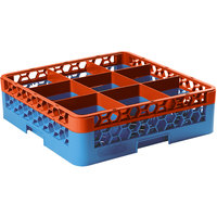 Carlisle RG9-1C412 OptiClean 9 Compartment Orange Color-Coded Glass Rack with 1 Extender