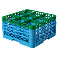 Carlisle RG9-4C413 OptiClean 9 Compartment Green Color-Coded Glass Rack with 4 Extenders