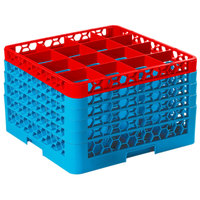 Carlisle RG16-5C410 OptiClean 16 Compartment Red Color-Coded Glass Rack with 5 Extenders