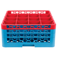Carlisle RG16-3C410 OptiClean 16 Compartment Red Color-Coded Glass Rack with 3 Extenders