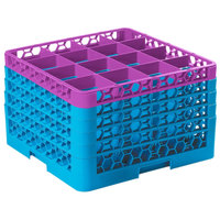 Carlisle RG16-5C414 OptiClean 16 Compartment Lavender Color-Coded Glass Rack with 5 Extenders
