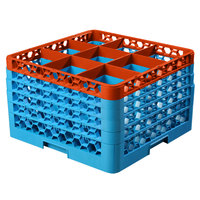 Carlisle RG9-5C412 OptiClean 9 Compartment Orange Color-Coded Glass Rack with 5 Extenders