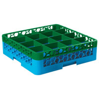 Carlisle RG16-1C413 OptiClean 16 Compartment Green Color-Coded Glass Rack with 1 Extender