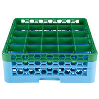 Carlisle RG25-2C413 OptiClean 25 Compartment Green Color-Coded Glass Rack with 2 Extenders