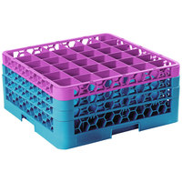 Carlisle RG36-3C414 OptiClean 36 Compartment Lavender Color-Coded Glass Rack with 3 Extenders