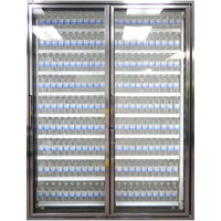 Styleline CL3072-2020 20//20 Plus 30 inch x 72 inch Walk-In Cooler Merchandiser Doors with Shelving - Anodized Bright Silver, Right Hinge - 2/Set