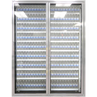 Styleline CL3072-2020 20//20 Plus 30 inch x 72 inch Walk-In Cooler Merchandiser Doors with Shelving - Anodized Satin Silver, Right Hinge - 2/Set