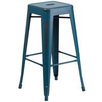 Distressed Kelly Blue Stackable Metal Bar Height Stool with Drain Hole Seat