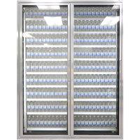 Styleline CL2672-LT Classic Plus 26 inch x 72 inch Walk-In Freezer Merchandiser Doors with Shelving - Anodized Satin Silver, Left Hinge - 2/Set