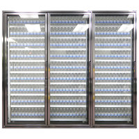 Styleline CL3080-2020 20//20 Plus 30 inch x 80 inch Walk-In Cooler Merchandiser Doors with Shelving - Anodized Bright Silver, Left Hinge - 3/Set