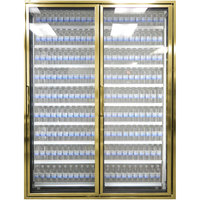Styleline CL3080-2020 20//20 Plus 30 inch x 80 inch Walk-In Cooler Merchandiser Doors with Shelving - Anodized Bright Gold, Right Hinge - 2/Set