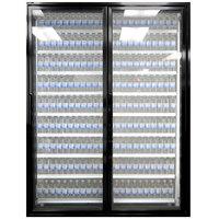 Styleline CL3080-2020 20//20 Plus 30 inch x 80 inch Walk-In Cooler Merchandiser Doors with Shelving - Satin Black, Right Hinge - 2/Set