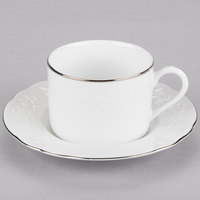 10 Strawberry Street Vine-9SL Vine Silver Line 7 oz. Porcelain Cup and Saucer - 24/Case