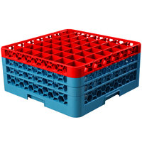 Carlisle RG49-3C410 OptiClean 49 Compartment Red Color-Coded Glass Rack with 3 Extenders
