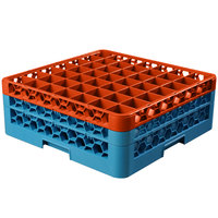 Carlisle RG49-2C412 OptiClean 49 Compartment Orange Color-Coded Glass Rack with 2 Extenders