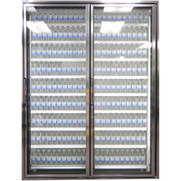 Styleline CL2672-LT Classic Plus 26 inch x 72 inch Walk-In Freezer Merchandiser Doors with Shelving - Anodized Bright Silver, Right Hinge - 2/Set