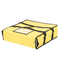 Choice 18 inch x 18 inch x 5 inch Yellow Soft-Sided Nylon Insulated Pizza Delivery Bag - Holds Up To (2) 16 inch Pizza Boxes or (1) 18 inch Pizza Box