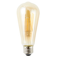 Satco S9579 6.5 Watt (60 Watt Equivalent) Transparent Amber LED Light Bulb - 120V (ST19)
