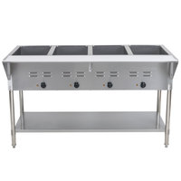ServIt EST-4WE Four Pan Open Well Electric Steam Table with Undershelf - 120V, 2000W