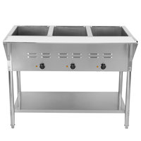 ServIt EST-3WEThree Pan Open Well Electric Steam Table with Undershelf - 120V, 1500W