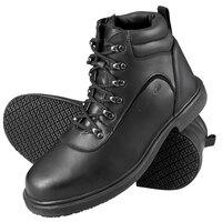 Genuine Grip 7130 Men's Size 10.5 Wide Width Black Steel Toe Non Slip Leather Boot with Zipper Lock