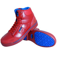 Genuine Grip 5013 Stealth Men's Size 9 Medium Width Red and Blue Laced Non Slip Shoe with Composite Toe and Side Zipper