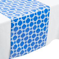 Creative Converting 317330 14 inch x 84 inch Cobalt Blue and White Plastic Table Runner