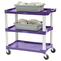 Lakeside 2501A Standard-Duty Purple Plastic Three Shelf Utility Cart - 36 inch x 18 1/2 inch x 35 inch