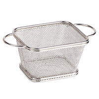 GET 4-81865 4 inch x 3 1/4 inch x 2 1/4 inch Stainless Steel Single Serving Fry Basket with Round Handles