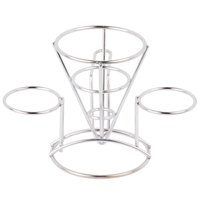 GET 4-96282 4 1/4 inch x 6 inch Stainless Steel Wire Cone Basket with 2 Ramekin Holders and Handle