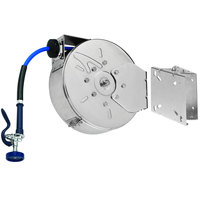T&S B-7122-C01-ESB 30' Enclosed Stainless Steel Hose Reel with High Flow Spray Valve and Swing Bracket
