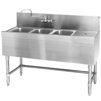 Eagle Group B4-3-R-24 Spec-Bar 48 inch x 24 inch 20 Gauge Three Bowl Stainless Steel Underbar Sink with 12 inch Right Drainboard
