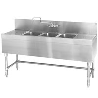 Eagle Group B7-3-LR-24 Spec-Bar 84 inch x 24 inch 20 Gauge Three Bowl Stainless Steel Underbar Sink with (2) 24 inch Drainboards