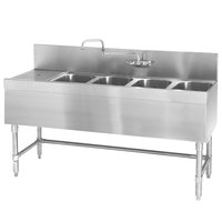 Eagle Group B6L-4-19 Spec-Bar 72 inch x 19 inch 20 Gauge Four Bowl Stainless Steel Underbar Sink with 24 inch Left Drainboard