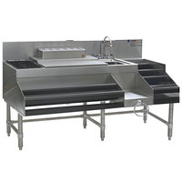 Eagle Group CCS-60-1 Spec-Bar 60 inch Stainless Steel Combination Cocktail Station with 12 inch Liquor Display