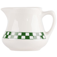 Homer Laughlin 1751708 Green Checkers 5.25 oz. Ivory (American White) Creamer - 24/Case