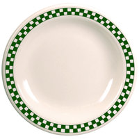 Homer Laughlin 2161708 Green Checkers 9 3/8 inch Ivory (American White) Narrow Rim Plate - 24/Case