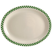 Homer Laughlin 1541708 Green Checkers 10 1/2 inch x 7 3/8 inch Ivory (American White) Rolled Edge Oval Platter - 24/Case
