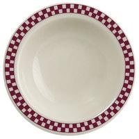 Homer Laughlin 1651791 Maroon Checkers 3.25 oz. Ivory (American White) Narrow Rim Fruit Dish - 36/Case