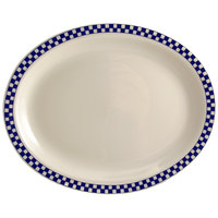 Homer Laughlin 1551790 Cobalt Checkers 11 3/4 inch x 8 inch Ivory (American White) Rolled Edge Oval Platter - 12/Case